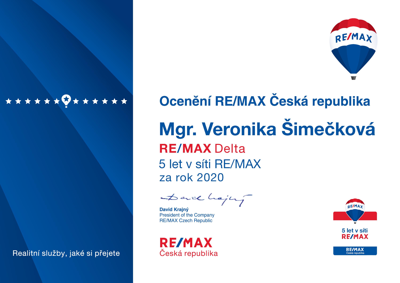 Diplom za 5 let v síti RE/MAX
