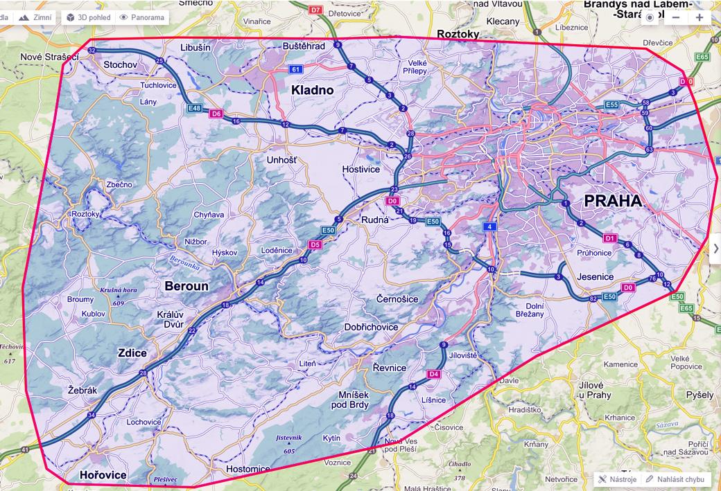 Mapa s vyznačenou oblastí působení