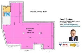 Půdorys - Prodej obchodních prostor 230 m², Písek
