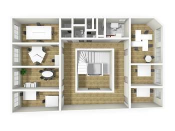 Vizualizace 4. NP - Pronájem kancelářských prostor 124 m², Broumov