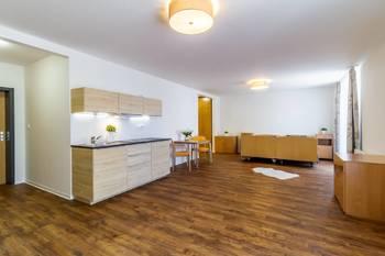 Obývací pokoj s kuchyňským koutem - Pronájem bytu 1+kk v osobním vlastnictví 52 m², Praha 5 - Slivenec