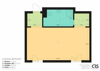 Půdorys bytu - Pronájem bytu 1+kk v osobním vlastnictví 52 m², Praha 5 - Slivenec