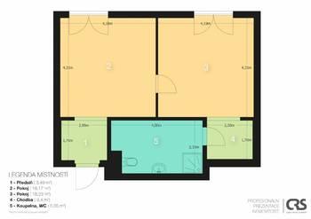 Půdorys bytu - Pronájem bytu 2+kk v osobním vlastnictví 52 m², Praha 5 - Slivenec