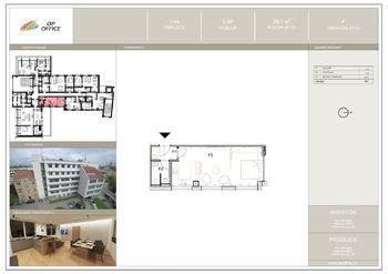 půdorys bytu - Pronájem bytu 1+1 v osobním vlastnictví 31 m², Prostějov