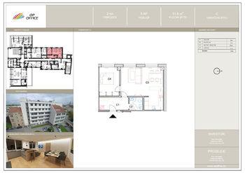 půdorys bytu - Pronájem bytu 2+kk v osobním vlastnictví 47 m², Prostějov