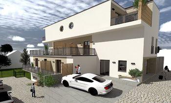 Vizualizace - boční pohled z ulice Průjezdní - Prodej bytu 2+1 v osobním vlastnictví 54 m², Brno