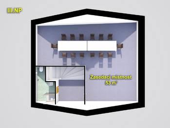 schéma III.NP - původní budova - Pronájem komerčního objektu 649 m², Česká Lípa