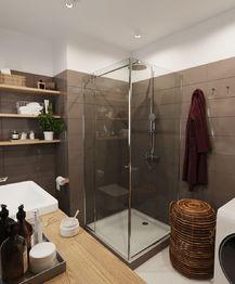 Koupelna - Prodej bytu 1+kk v osobním vlastnictví 40 m², České Budějovice