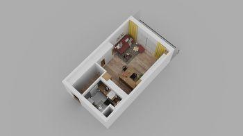 Model bytu - Prodej bytu 1+kk v osobním vlastnictví 40 m², České Budějovice