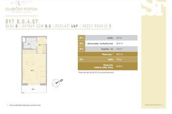 Půdorys a rozměry - Prodej bytu 1+kk v osobním vlastnictví 40 m², České Budějovice
