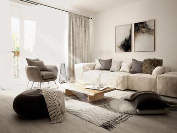 Obývací pokoj - Prodej bytu 3+kk v osobním vlastnictví 84 m², České Budějovice