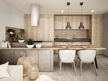 Obývací pokoj s kuchyňským koutem - Prodej bytu 3+kk v osobním vlastnictví 84 m², České Budějovice
