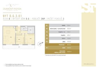 Půdorys bytu DG301 - Prodej bytu 3+kk v osobním vlastnictví 84 m², České Budějovice